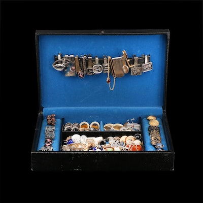Vintage Jewelry Box Cufflinks and Tie Clips, Shirt Studs Including Sterling