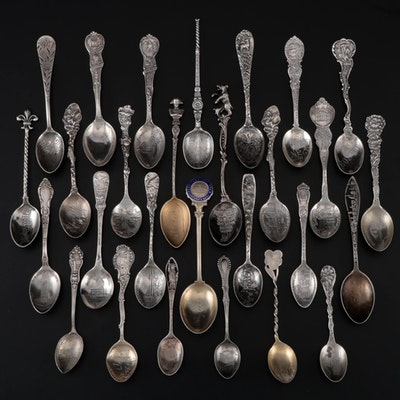 William Hutton & Sons Sterling Spoon with Silver Souvenir Spoons