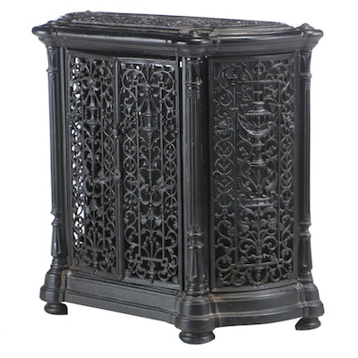 French Cast Iron Converted Radiator Console Cabinet, Late 19th/Early 20th C.