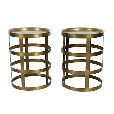 Brushed Gold Tone Metal Tray Tables, Contemporary