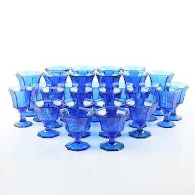 Independence Octagonal Blue Stemware, Mid-20th Century