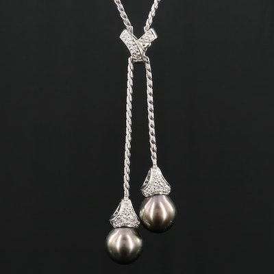 14K White Gold Pearl and Diamond Lariat Necklace