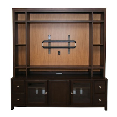 Hooker Furniture Media Cabinet in Espresso with Sanus Television Bracket