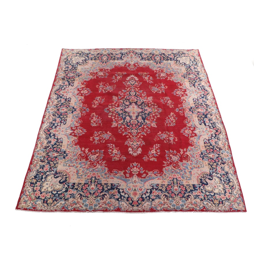 9'9 x 13'1 Hand-Knotted Persian Kashan Signed Wool Room Sized Rug