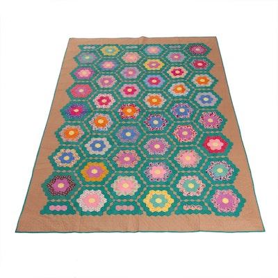 """Handmade Quilt """"Grandmother's Flower Garden"""""""