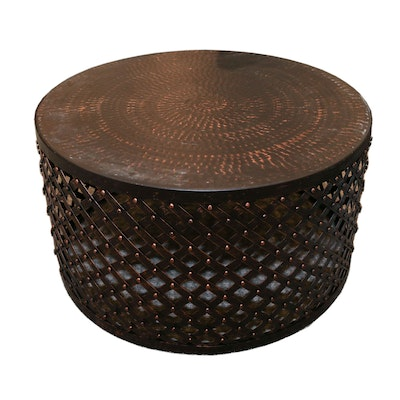 Round Metal Coffee Table on Lattice Frame
