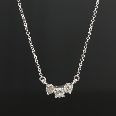14K White Gold Diamond Three Stone Necklace