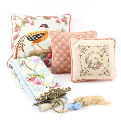 Hand-Crafted Floral Needlepoint-Faced Pillows and Wall Decor