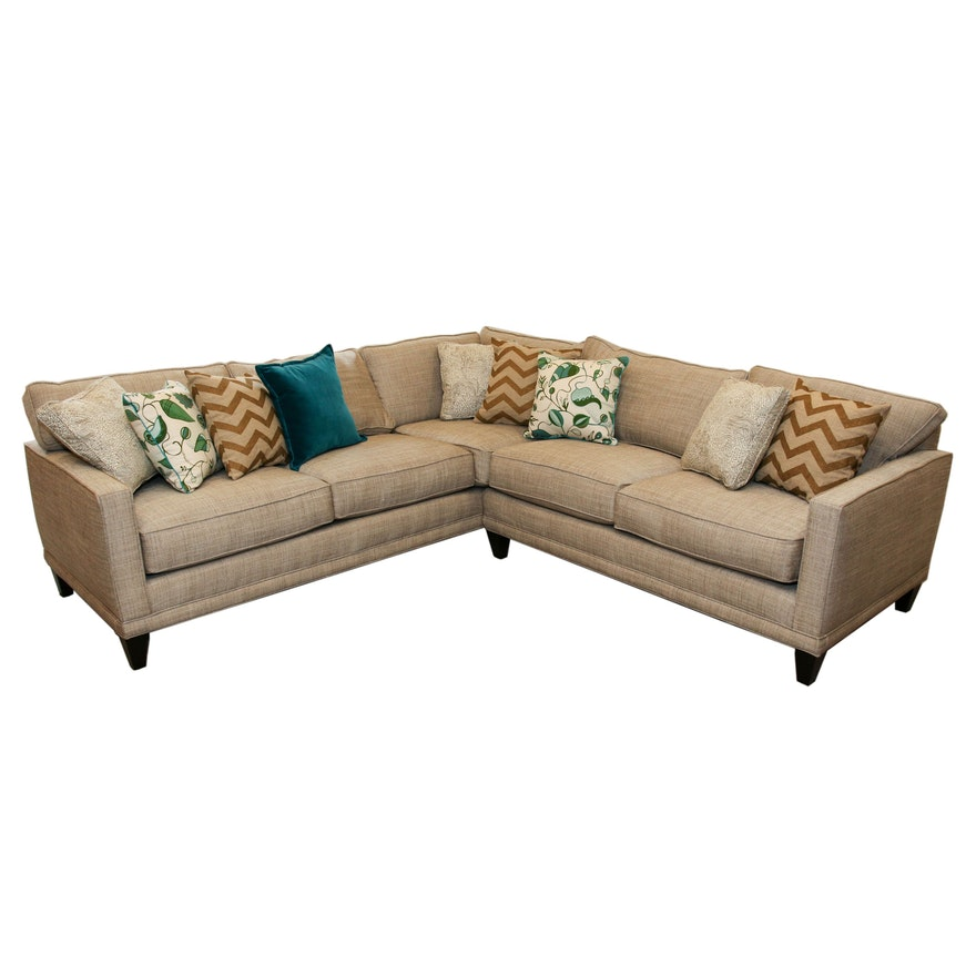 Rowe Furniture Tweed Sectional with Decorative Throw Pillows