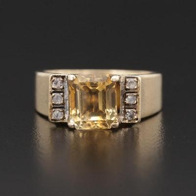 14K Yellow Gold Citrine and Aquamarine Ring