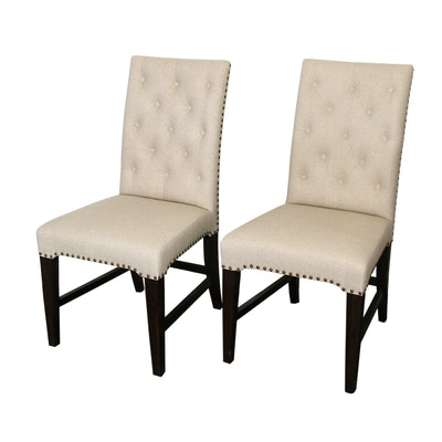 Button-Tufted Parsons Dining Chairs with Nail Head Details