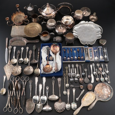 Silver Plate Serving Pieces, Utensils, Souvenir Spoons, Décor, and More