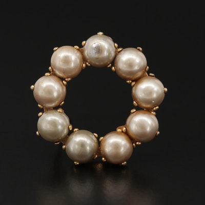 10K White Gold Pearl Halo Brooch