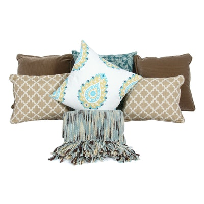 Decorative Pillows and Surya Woven Throw Blanket
