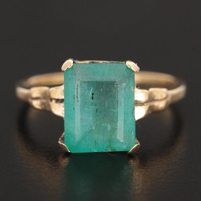 Vintage 10K Yellow Gold Emerald Ring