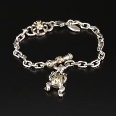 Saint by Sarah Jane Sterling Frog and Spider Bracelet With 18K Gold Accents