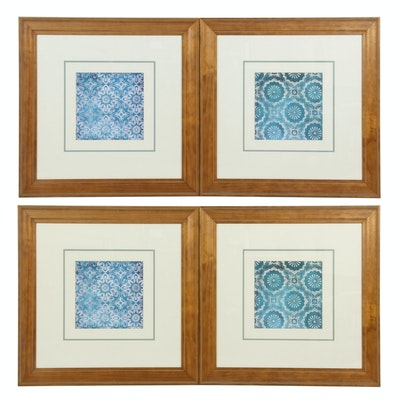 Decorative Offset Lithographs of Stylized Geometric Flowers
