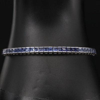 10K White Gold Sapphire Ombré Line Bracelet