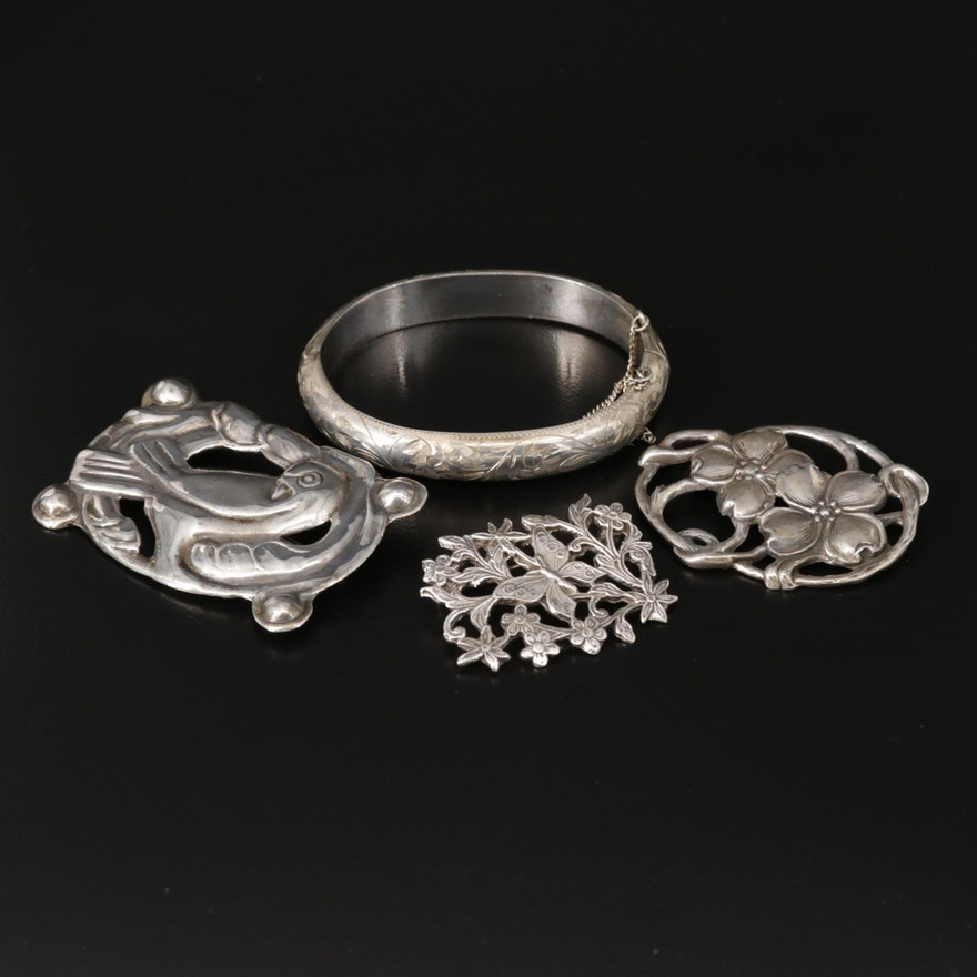 Sterling Silver Floral and Bird Brooches and Bracelet