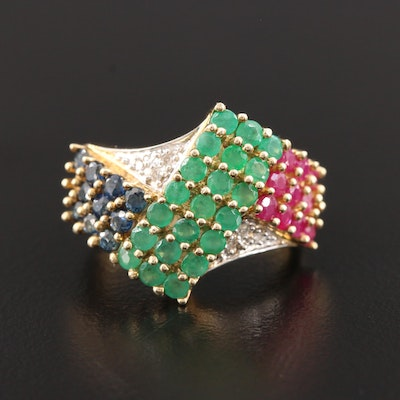 10K Yellow Gold Sapphire, Ruby, Emerald and Diamond Ring
