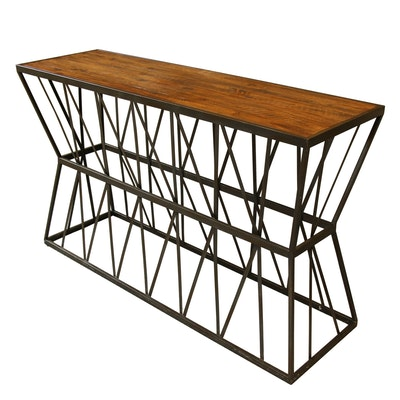 Hooker Furniture Industrial Style Metal and Wood Sofa Table