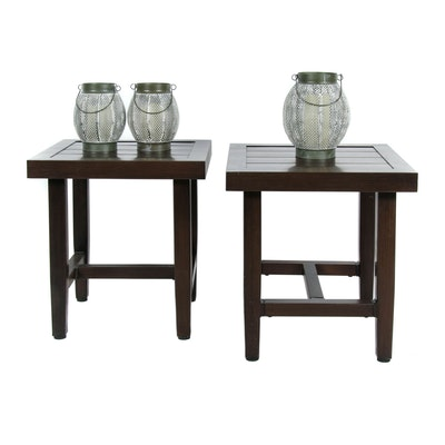 Hampton Bay Outdoor Side Tables and Electric Metal Lanterns