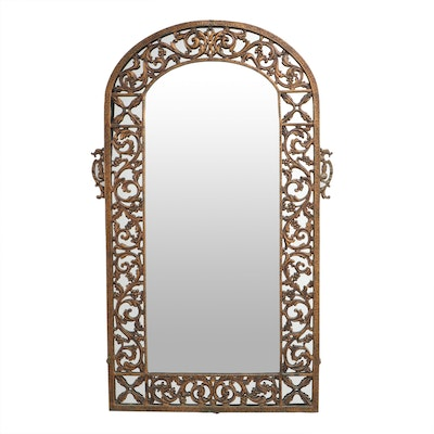 Copper Tone Metal Arch Top Mirror with Grapevine Pattern