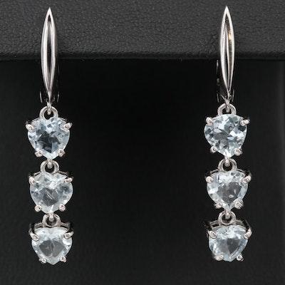 Sterling Silver Aquamarine Heart Dangle Earrings