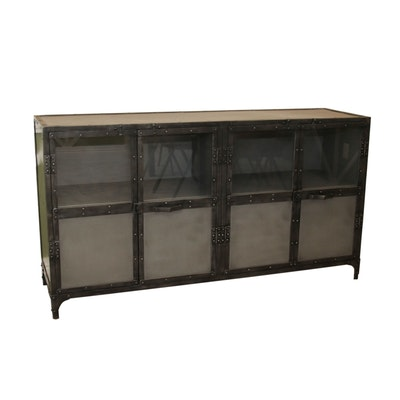 Industrial Style Metal Storage Cabinet with Glass Doors