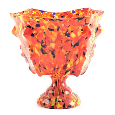 Czechoslovakian Hand Blown Spatter Glass Footed Vase, Early 20th Century