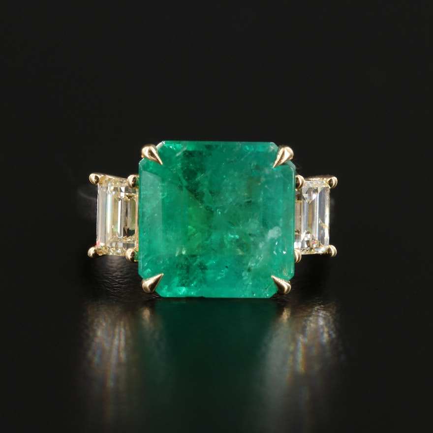 Platinum and 18K 6.75 CT Emerald and 1.36 CTW Diamond Ring with GIA Report