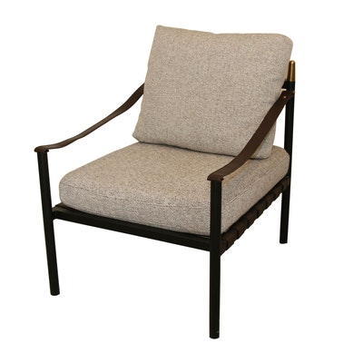 Modern Metal Armchair with Faux Leather Straps