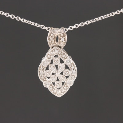 14K White Gold Diamond Pendant on Cable Chain Necklace