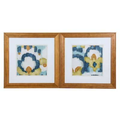 Abstract Giclée Prints in Cool Blue and Warm Maize Tones