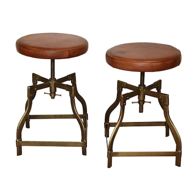 Adjustable Bar Stools with Saddle Leather Seats and Brass Frames