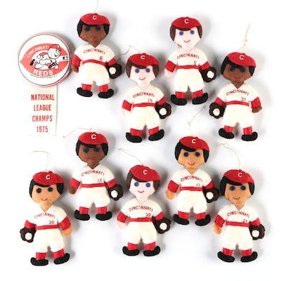 """Cincinnati Reds """"1975 Big Red Machine"""" Handcrafted Player Dolls with Button"""