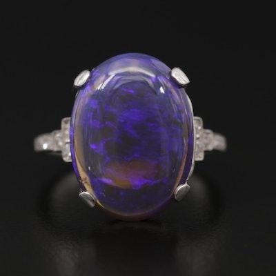Vintage Platinum Opal and Diamond Ring