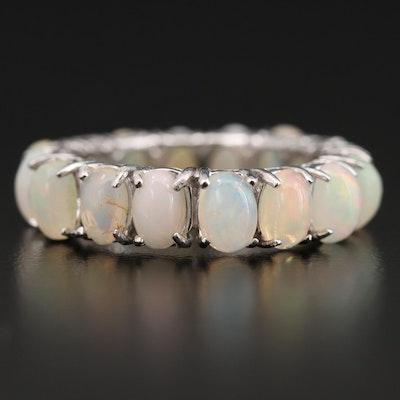 Sterling Silver Opal Eternity Ring