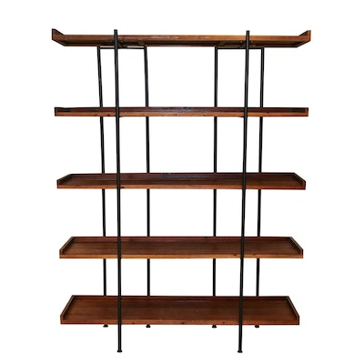 Industrial Style Wood and Metal Display Shelf