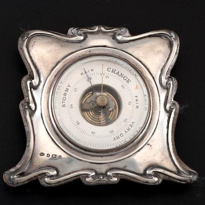 William Aitkin Art Nouveau Sterling Desk Barometer, 1904