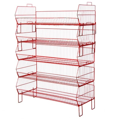 Stackable Red Iron Wire Rack Shelves, Mid to Late 20th Century