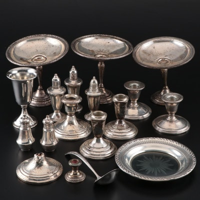 Weighted Sterling Silver Candlesticks, Shakers, Compotes, and More