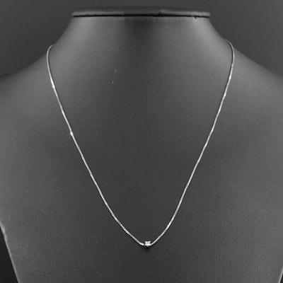 Sterling Silver 0.02 CT Diamond Solitaire Pendant Necklace