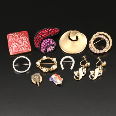 Assorted Jewelry Featuring Crown Trifari and Sterling Horseshoe Brooch