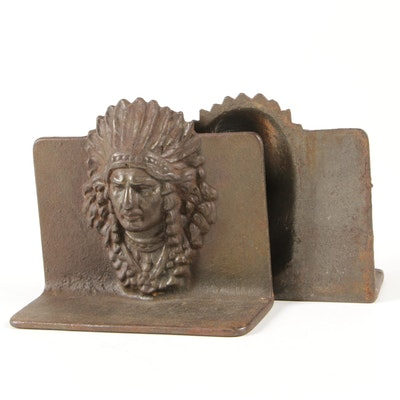 Native American Chief Cast Iron Bookends