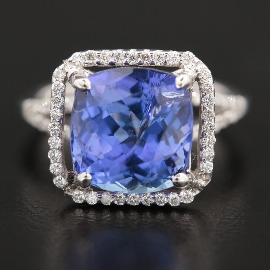 18K White Gold 4.58 CT Tanzanite and Diamond Ring with GIA Report