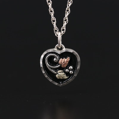 Sterling Silver Enamel Heart Pendant on Rope Chain