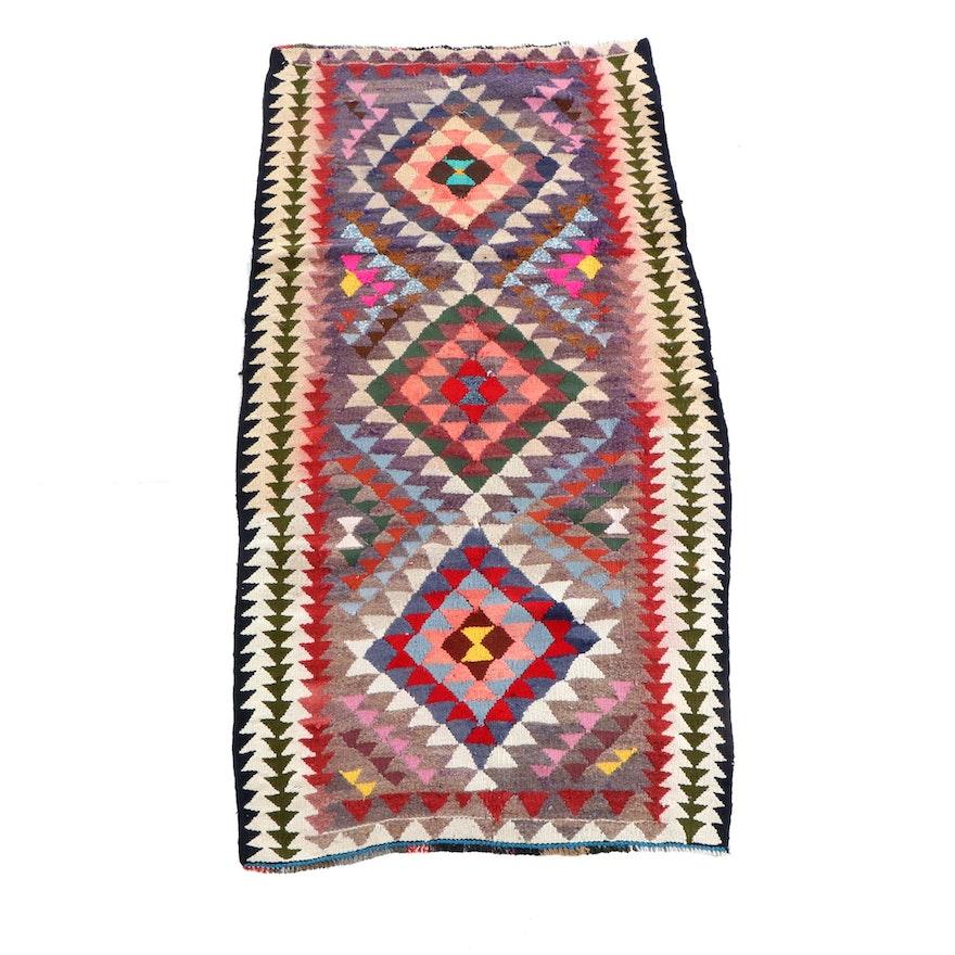 3'7 x 7'7 Handwoven Persian Kilim Wool Long Rug