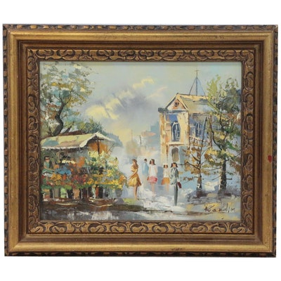 Street Scene Oil Painting with Flower Market and Figures