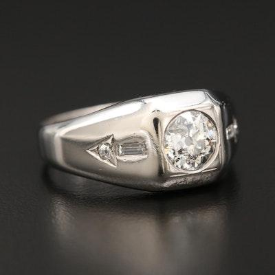 Vintage Platinum 1.31 CTW Diamond Ring with Old European Cut Center